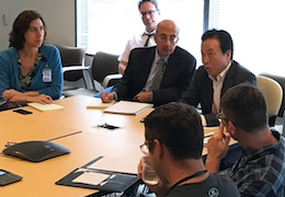 Yong-Sup Han talks to students and RAND staff