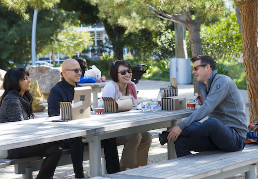 Brown Faculty Chair Sebastian Linnemayr and students ate a picnic lunch in Tongva Park