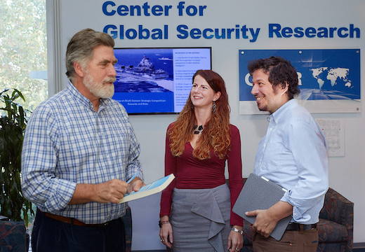 CGSR director Brad Roberts talks with a postdoctoral research fellow and Pardee RAND student Pau Alonso Garcia-Bode (cohort '18), photo courtesy Lawrence Livermore National Laboratory
