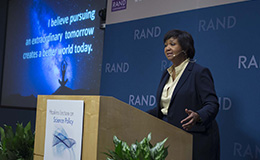 Dr. Mae Jemison delivers the Haskins Lecture on Science Policy on January 23, 2018, photo by Diane Baldwin/RAND Corporation