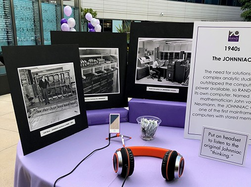 The JOHNNIAC displayed at the RAND 70th Anniversary celebration in Santa Monica on May 8, 2018, photo by Breanne Williamson/RAND Corporation