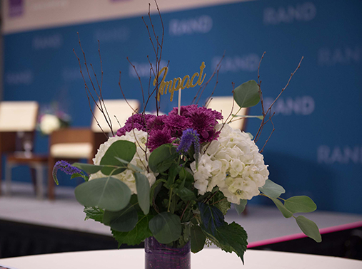 Flowers at a RAND Alumni Association brunch at RAND's Santa Monica Headquarters on September 21, 2019
