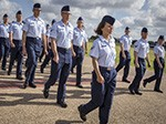 For the first time in Air Force Basic Military Training, Airmen march in integrated Heritage Flights during the Air Force Basic Training Graduation Parade July 17 at Joint Base San Antonio-Lackland