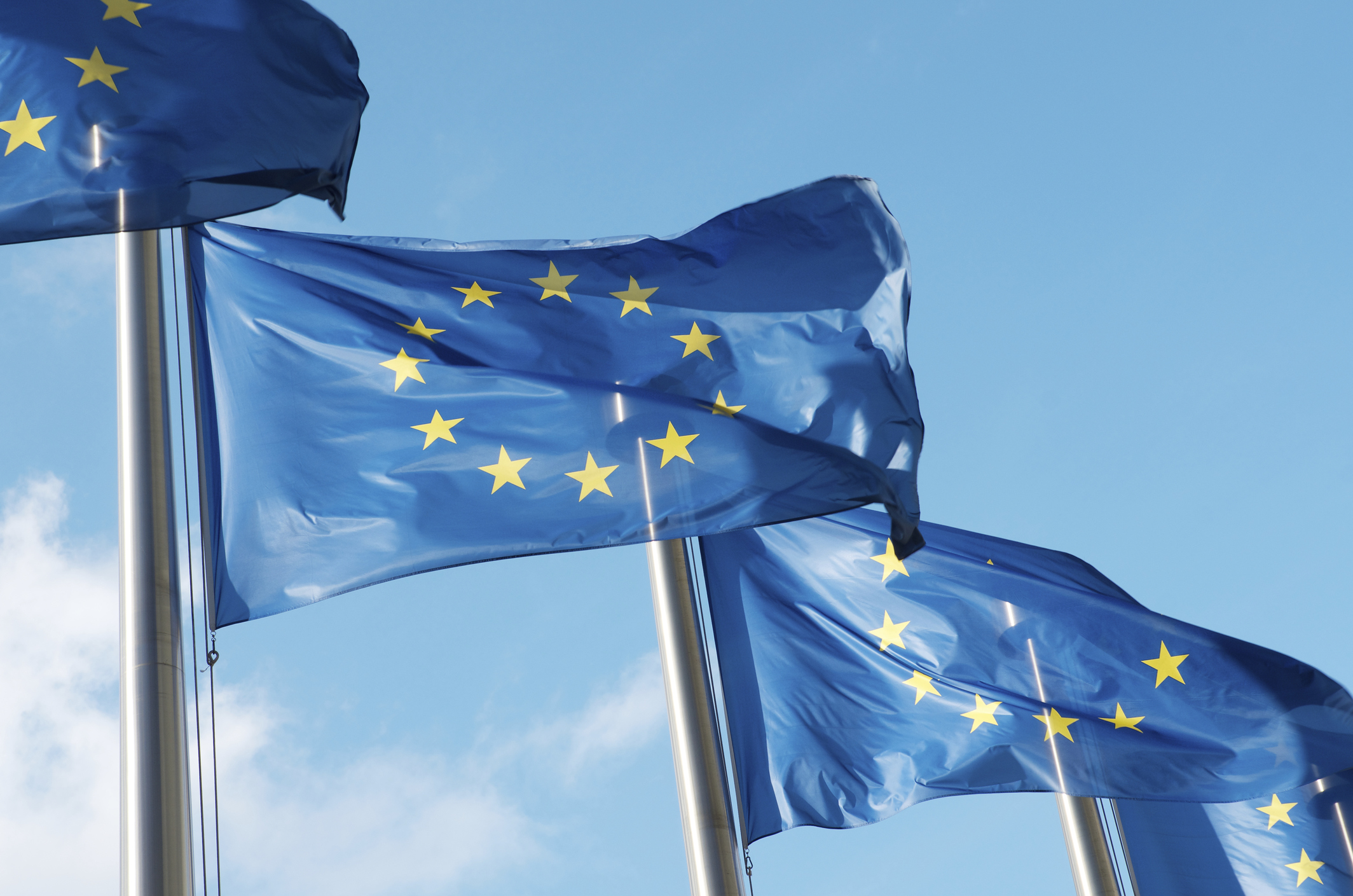 Row of European Union flags waving in the wind against a blue sky, photo by sharrocks/Getty Images