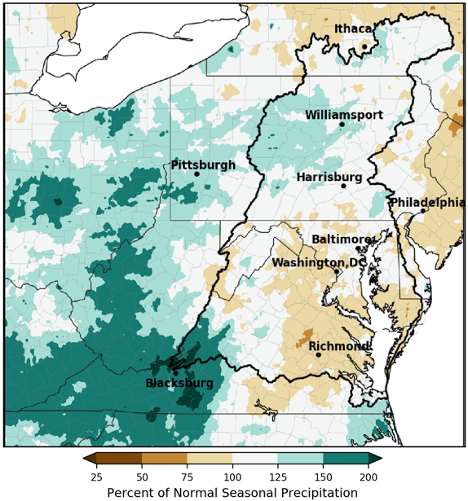 Percent of normal precipitation for the Mid-Atlantic Region, March to May 2020.