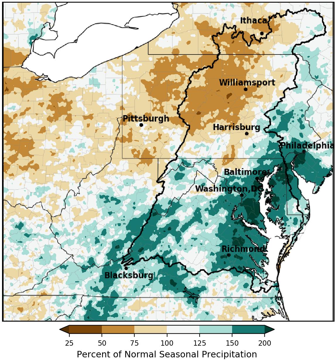 Precipitation map for the Chesapeake Bay region for Summer 2020