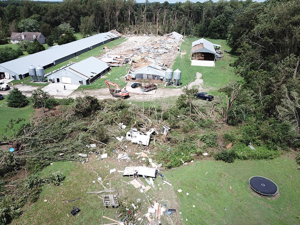 Damage from Tropical Storm Isaias in Stockton, Maryland.