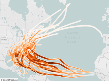 A screen capture of an interactive tool showing the number and paths of hurricanes in the Mid-Atlantic from 1980 to 2020.