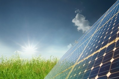 sun, grass, and solar panels