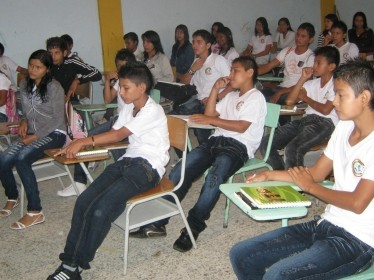 Colombian secondary school students in classroom