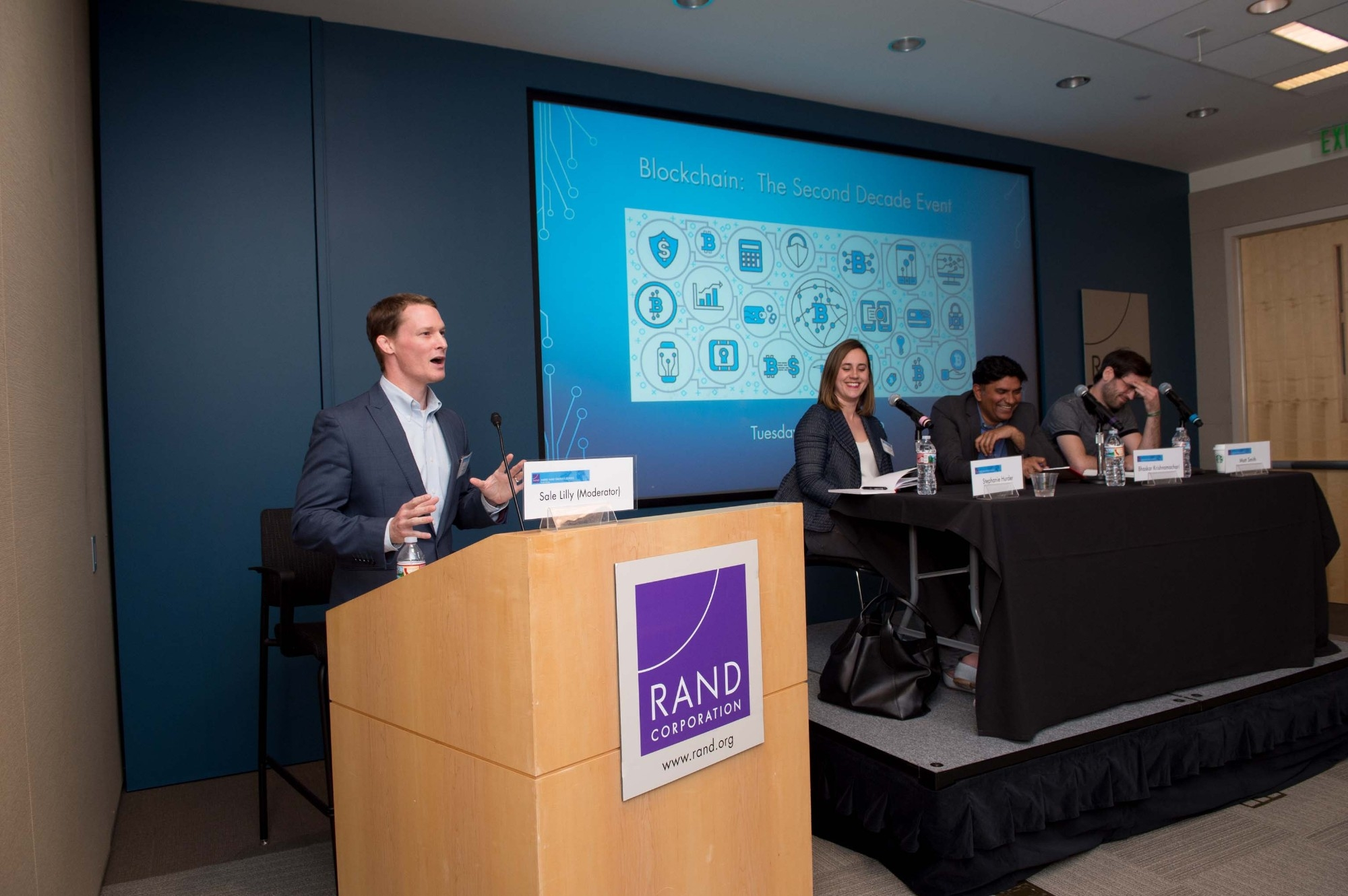 Blockchain talk and chili reception, photo by Diane Baldwin/RAND Corporation, p201904_02, event, panel, dinner, sale lilly, stephanie hurder, bhaskar krishnamachari, Matt Smith