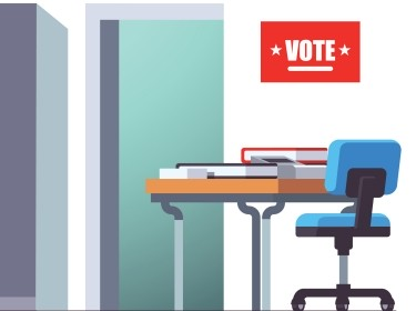Voting station with reception desk, voting booths, illustration by iconicbestiary/Adobe Stock