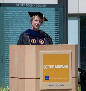 Dean Susan Marquis at the 2014 Pardee RAND Graduate School Commencement Ceremony