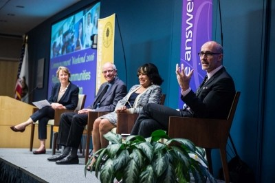 Panel discussion featuring Arthur Brooks during the Pardee RAND Graduate School 2016 Commencement