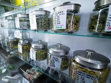 Selection of medical recreational cannabis at a legal retail store, photo by Kyle Taisacan/Adobe Stock