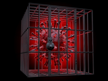 Red coronavirus cell locked in metal cage, illustration by grandeduc/Adobe Stock
