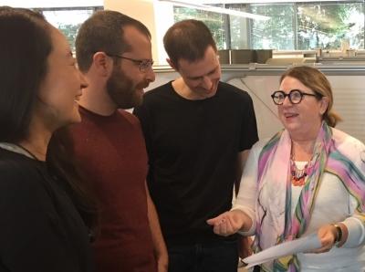 Sandy Buchan talks with students