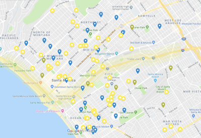 Placement of the Santa Monica pilot study's PurpleAir monitors
