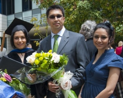 The Amiri family at Sara's Commencement in 2010, photo by Diane Baldwin/RAND Corporation