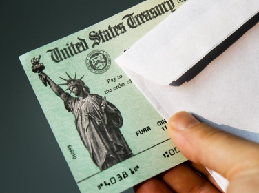 United States Treasury check for stimulus package to ease the impact of Coronavirus (Covid-19)