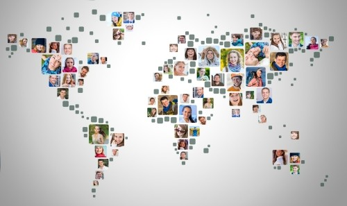 Collection of people portraits placed as world map shape, photo by  Joe-L /Adobe Stock
