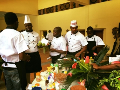 Professional chefs pick out their ingredients for the Superfoods Cook-off