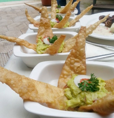 Guacamole and Millet-sorghum tortilla crisps, prepared at the Superfoods Cook-Off