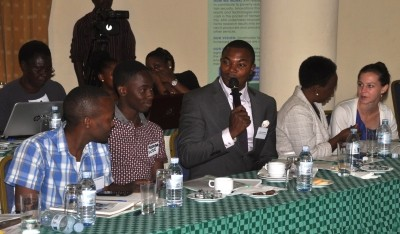 Wanyama Henry, professional chef at the Cooking School of Kampala, talks at the Traditional Grains stakeholders meeting