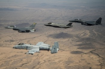 A commander leads a formation with the A-10 Thunderbolt II, F-35 Joint Strike Fighter, and F-15 Strike Eagle, near Luke Air Force Base, Arizona, June 2, 2017