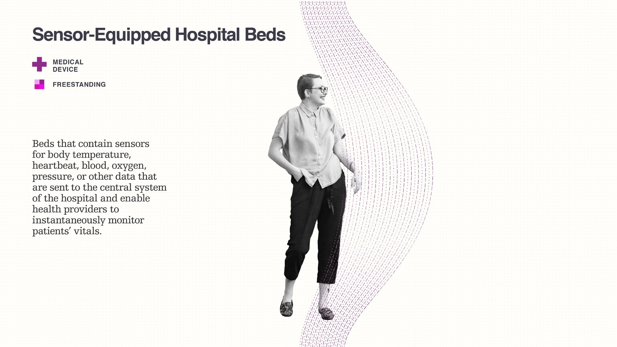Data visualization illustrating sensor-equipped hospital beds by Gioriga Lupi.