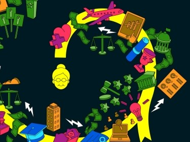 An illustration visualizing a new 21st century workforce development system, artwork by Morcos Key