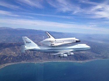 Space Shuttle Endeavour piggy backing to Los Angeles