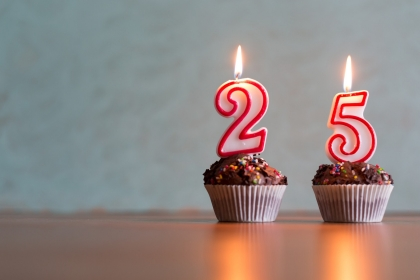 Birthday candles on cupcakes representing the number 25