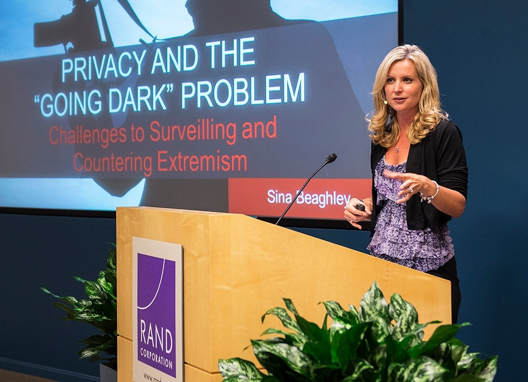Sina Beaghley speaks at a RAND Alumni Association event on Privacy and the 'Going Dark' Problem