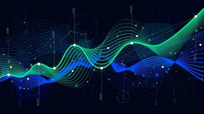 Statistics big data, analytical indicator sci-fi background