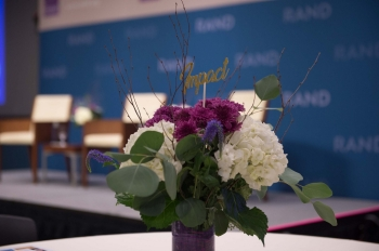 Flowers at a RAND Alumni Association brunch at RAND's Santa Monica Headquarters on September 21, 2019, photo by Diane Baldwin/RAND Corporation