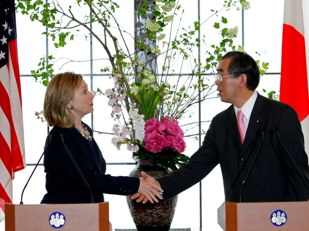 U.S. Secretary of State Hillary Clinton and Japan's Foreign Minister Takeaki Matsumoto shake hands after their meeting at the Iikura Guest House in Tokyo, April 17, 2011, photo by Yuriko Nakao/Reuters