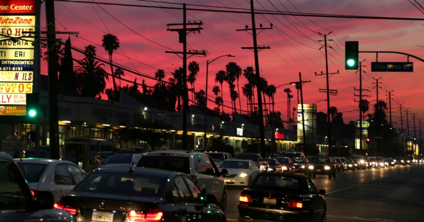 """Traffic moves on Santa Monica Boulevard in Hollywood, one of several neighborhoods designated by the Obama administration as a """"Promise Zone"""" in Los Angeles, California, January 23, 2014"""