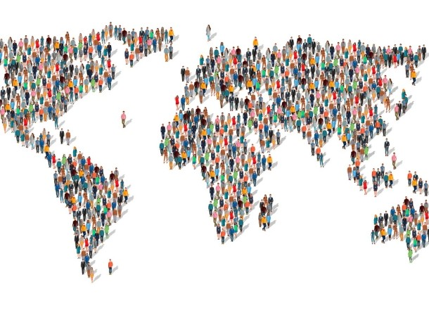 A world map formed by standing people, illustration by 300_librarians/Getty Images