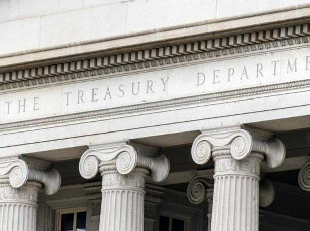 The U.S. Treasury building in Washington, D.C., photo by Juanmonino/Getty Images