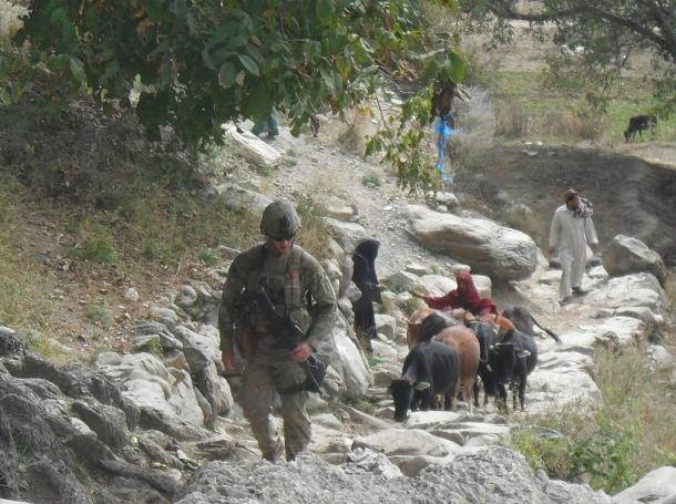 U.S. solider on patrol in Afghanistan