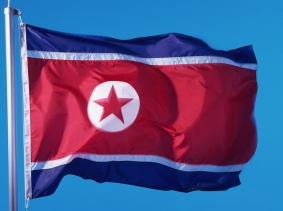 North Korean flag against a blue sky