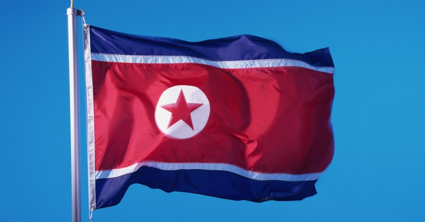 North Korean flag against a blue sky