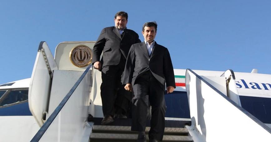 Iranian President Mahmoud Ahmadinejad exits a plane as he arrives in Kerman province, southeast of Iran, January 26, 2012
