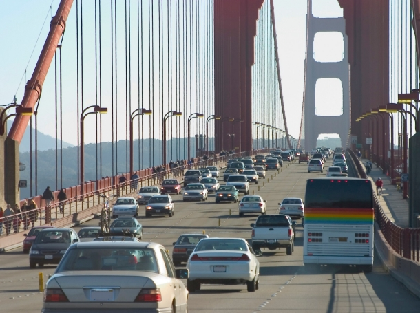 Traffic on what appears to be the Golden Gate Bridge