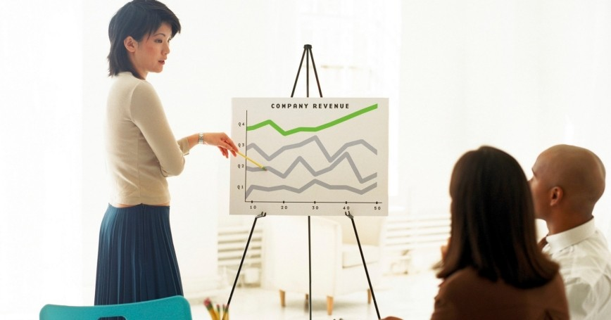 A woman giving a business presentation