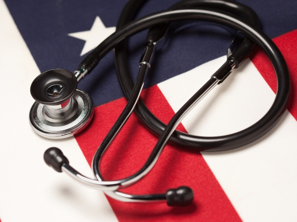 A stethoscope on an American flag