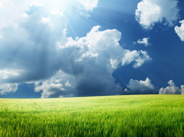 Sun shining through clouds over a grassy field