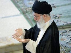 Iran's Supreme Leader Ayatollah Ali Khamenei prays during Friday prayers in Tehran, September 19, 2008