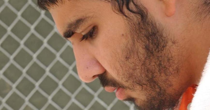 Yasser Esam Hamdi in Camp X-ray, Guantanamo Bay detention camp, Cuba, April 4, 2002
